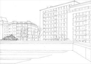 Petra Trenkel: Front de Seine, 2010, Bleistift auf Papier, 21 × 29,7 cm