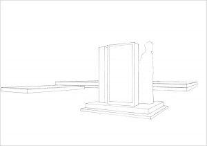 Petra Trenkel: Denkmal, 2004, Bleistift auf Papier, 21 × 29,7 cm