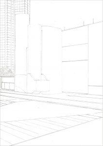 Petra Trenkel: Front de Seine, 2010, Bleistift auf Papier, 29,7 × 21 cm