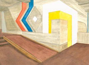 Petra Trenkel: Rathaus OF V, 2015, Aquarell auf Papier, 26 × 35 cm