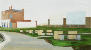 Petra Trenkel: Kanal, 2005, Öl auf Nessel, 51 × 90 cm