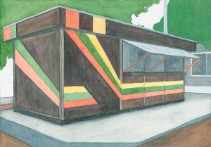 Petra Trenkel: Kiosk, 2011, Aquarell auf Papier, 22 × 31 cm