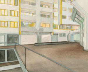 Petra Trenkel: Kotti III, 2012, Aquarell auf Papier, 27 × 33 cm