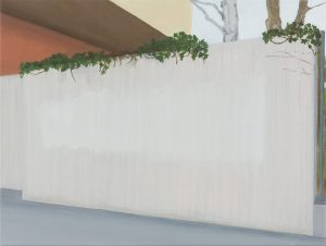 Petra Trenkel: Mauer, 2014, Öl auf Nessel, 45 × 60 cm