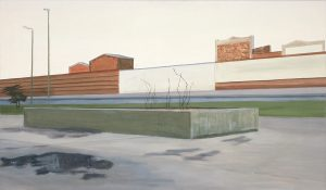 Petra Trenkel: Mauer I, 2004, Öl auf Nessel, 70 × 120 cm
