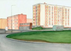 Petra Trenkel: Moritzplatz III, 2012, Aquarell auf Papier, 27 × 37 cm