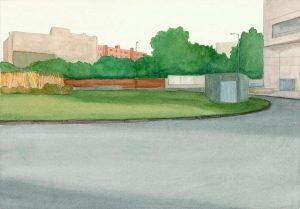 Petra Trenkel: Moritzplatz IV, 2012, Aquarell auf Papier, 27 × 38 cm