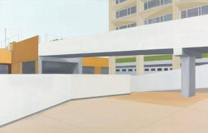 Petra Trenkel: Olympiades, 2011, Öl auf Nessel, 90 × 140 cm
