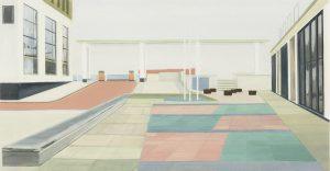 Petra Trenkel: Platz II, 2005, Öl auf Nessel, 56 × 107 cm