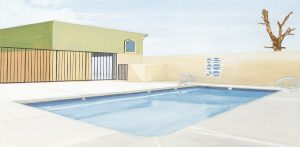 Petra Trenkel: pool, 2005, Öl auf Nessel, 40 × 80 cm