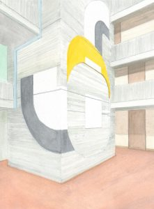 Petra Trenkel: Rathaus OF I, 2015, Aquarell auf Papier, 34 × 25 cm