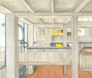 Petra Trenkel: Rathaus OF IV, 2015, Aquarell auf Papier, 27 × 35 cm