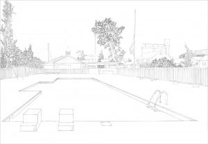 Petra Trenkel: Pool I, 2005, Bleistift auf Papier, 29,7 x 42cm