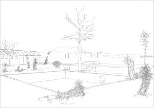 Petra Trenkel: Pool II, 2006, Bleistift auf Papier, 29,7 × 42cm