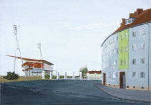 Petra Trenkel:Stadion, 2003, Oel auf Nessel, 80 × 115cm