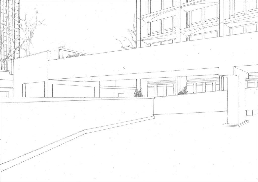 Petra Trenkel: Olympiades I, 2010, Bleistift auf Papier, 35 × 41 cm