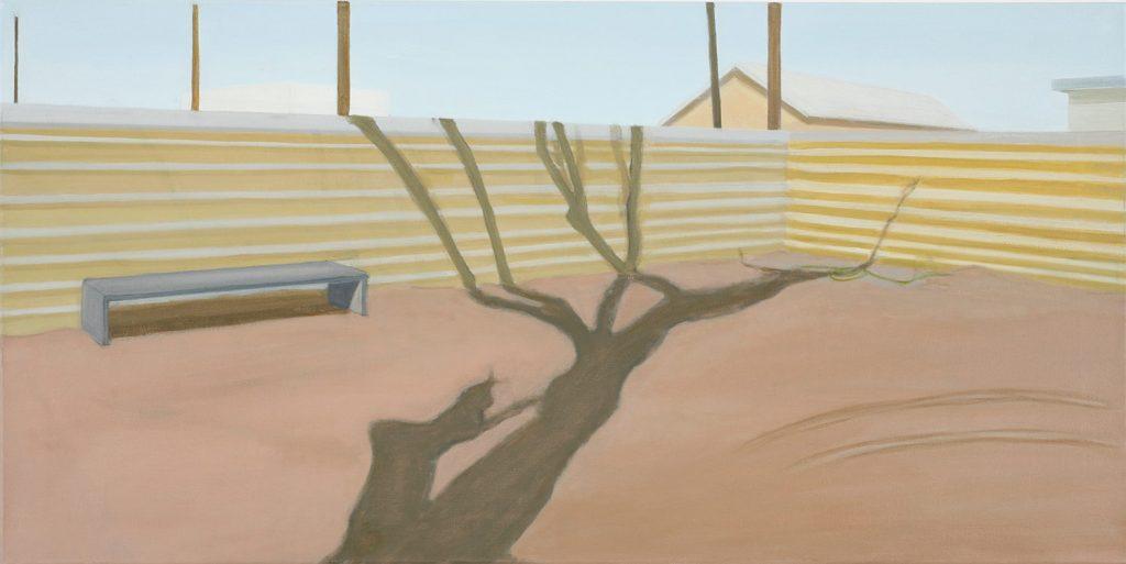 Petra Trenkel: yard, 2006, Öl auf Nessel, 45,5 × 91 cm