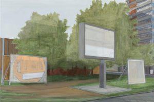 Petra Trenkel Wahltafel II, 2016, Öl auf Nessel, 60 × 90 cm