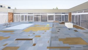 Petra Trenkel: Akademie, 2004, Öl auf Nessel, 80 × 140 cm