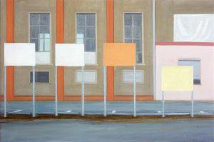 Petra Trenkel: Demo, 2013, Öl auf Nessel, 51 × 77 cm