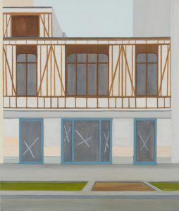 Petra Trenkel: Fachwerk, 2011, Öl auf Nessel, 60 × 70 cm
