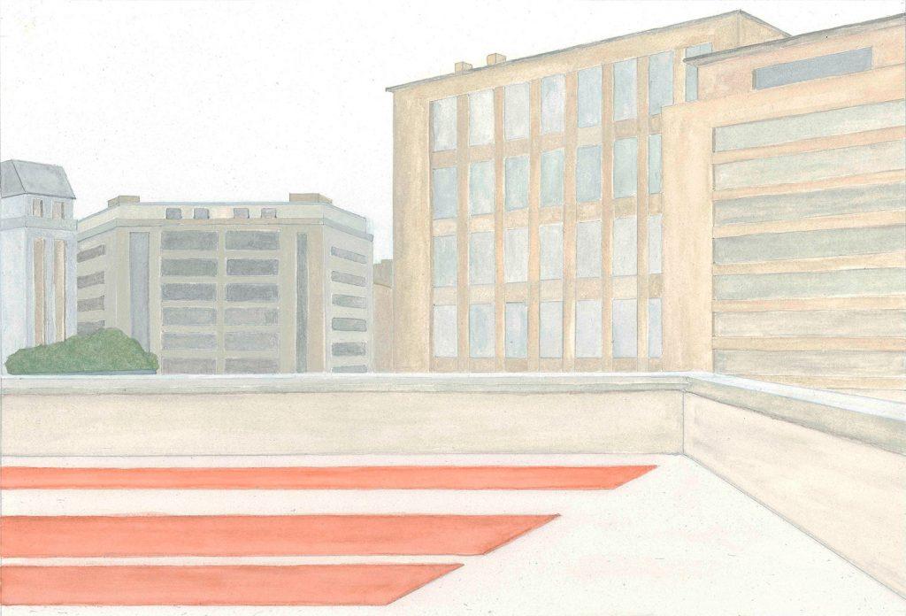 Petra Trenkel: Front, 2010, Aquarell auf Papier, 26 × 37 cm