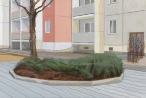 Petra Trenkel: Grünanlage I, 2015, Öl auf Nessel, 80 × 120 cm