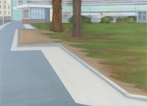 Petra Trenkel: Grünanlage II, 2015, Öl auf Nessel, 80 × 110 cm