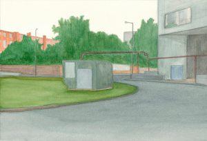 Petra Trenkel: Moritzplatz I, 2012, Aquarell auf Papier, 21 × 31 cm