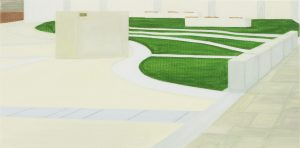 Petra Trenkel: Platz I, 2005, Öl auf Nessel, 30 × 60 cm