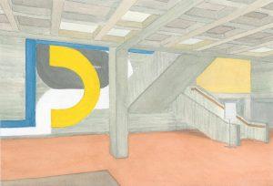Petra Trenkel: Rathaus OF II, 2015, Aquarell auf Papier, 22 × 32 cm