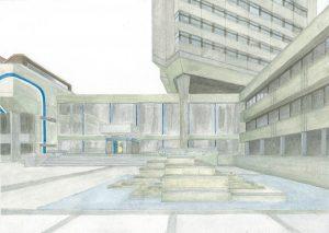 Petra Trenkel: Rathaus OF III, 2015, Aquarell auf Papier, 25 × 35 cm