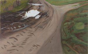 Petra Trenkel: Redlin V, 2015, Öl auf Nessel, 55 × 90 cm