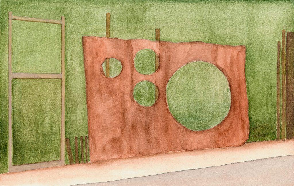 Petra Trenkel: Zaun, 2010, Aquarell auf Papier, 20 × 31 cm