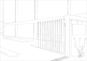 Petra Trenkel: Wallstr., 2010, Bleistift auf Papier, 21 × 29,7 cm