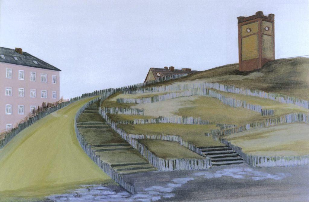 Petra Trenkel: Wasserturm, 2000, Öl auf Nessel, 60 × 90 cm